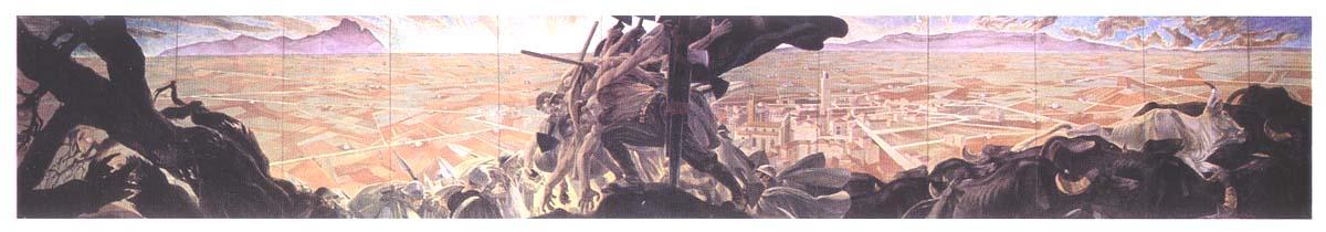 D. Cambellotti, La redenzione dell'Agro pontino, 1934, pannello centrale, tempera su lastre di eternit, cm. 260x1440, Latina, Palazzo del Governo